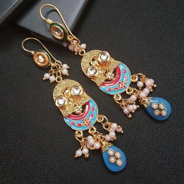 Blue Kundan Meenakari Designer Long Earrings For Girls / Women