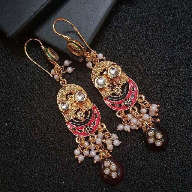 Red Kundan Meenakari Designer Long Earrings For Girls / Women