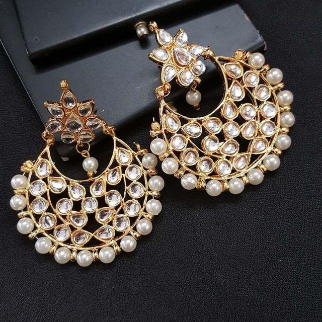 Kundan Meenakari With Pearl Beading Floral Style Chandbaali Earrings For Girls / Women