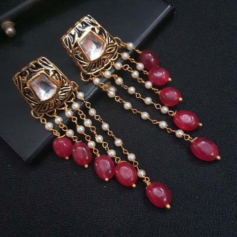 Black Kundan Meenakari Pearl Beading Earrings For Girls / Women