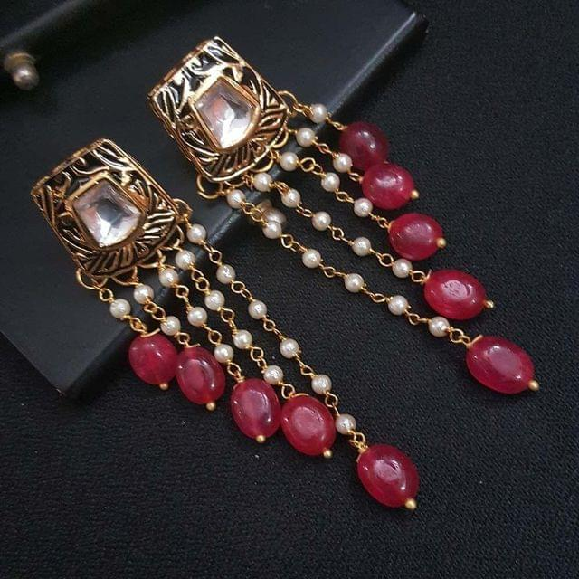 Black Kundan Meenakari Pearl Beading Earrings For Girls / Women