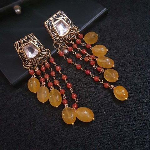 Black Kundan Meenakari Red Pearl Beading Earrings For Girls / Women