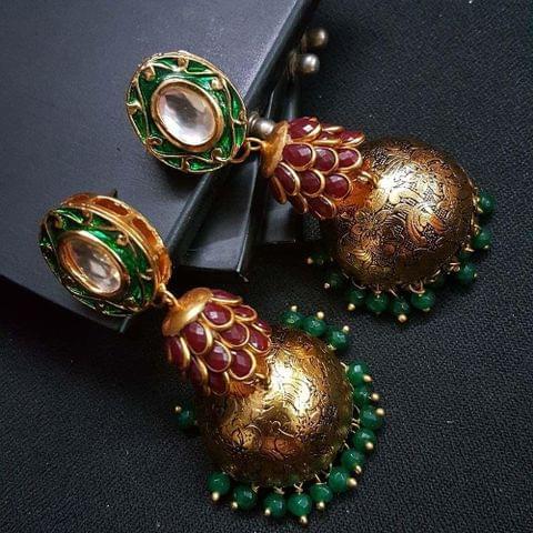 Green Kundan Meenakari Maroon Pachhi Antique Oxidised Jhumki Earrings for Girls