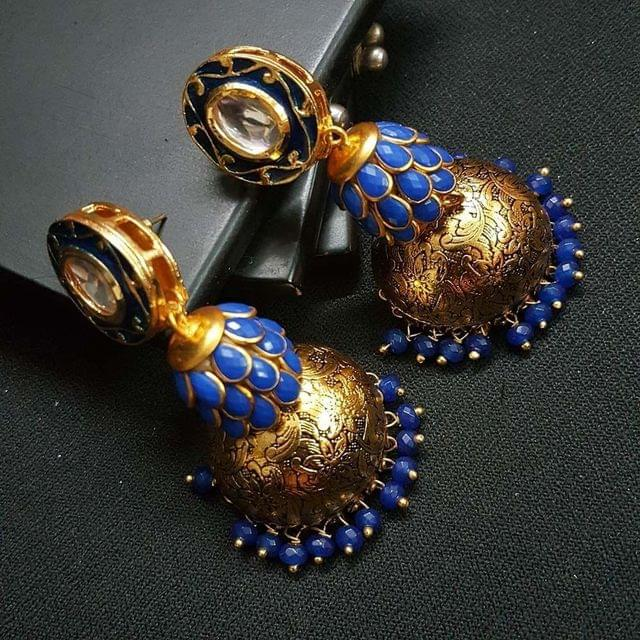 Blue Kundan Meenakari Pachhi Antique Oxidised Jhumki Earrings for Girls