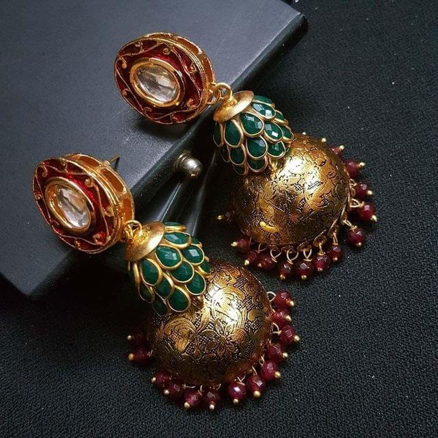 Maroon Kundan Meenakari Green Pachhi Antique Oxidised Jhumki Earrings for Girls