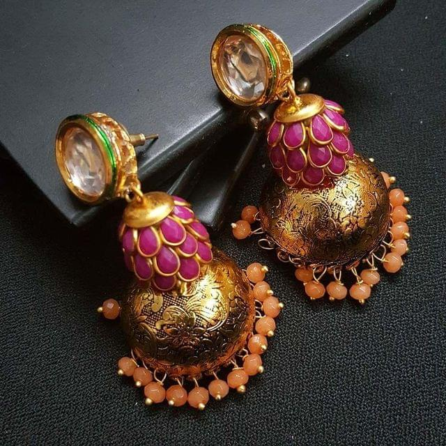 Multi Kundan Meenakari Pachhi Antique Oxidised Jhumki Earrings for Girls