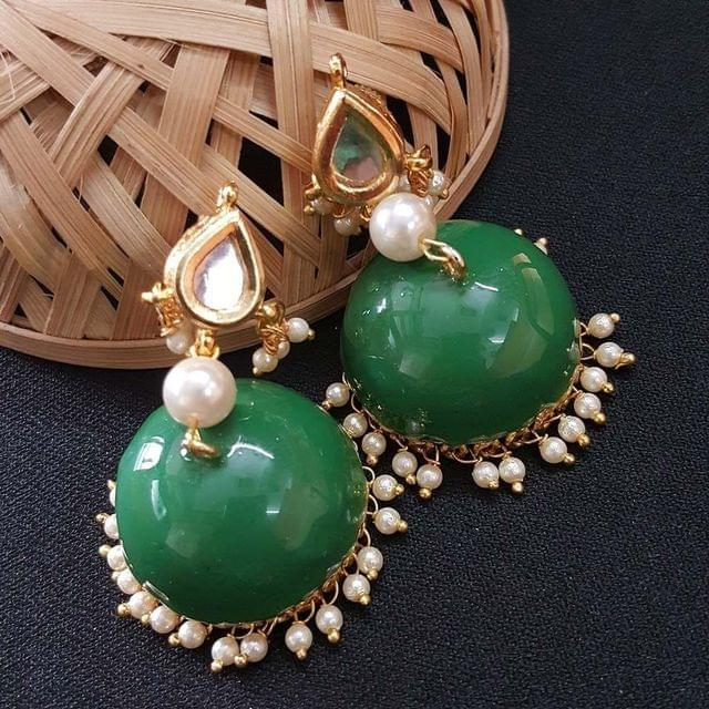Kundan With Pearl Beading Green Meenakari Jumki Earrings For Girls / Women