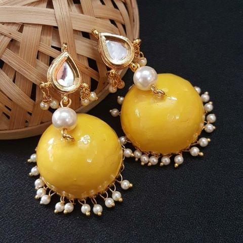 Kundan With Pearl Beading Yellow Meenakari Jumki Earrings For Girls / Women