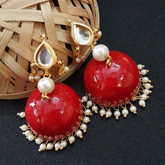 Kundan With Pearl Beading Red Meenakari Jumki Earrings For Girls / Women