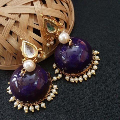 Kundan With Pearl Beading Blue Meenakari Jumki Earrings For Girls / Women