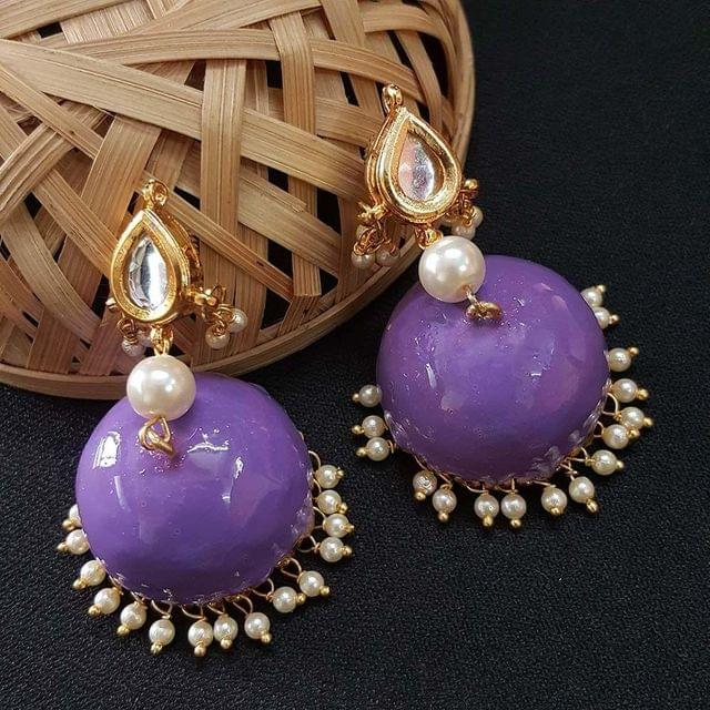 Kundan With Pearl Beading Purple Meenakari Jumki Earrings For Girls / Women