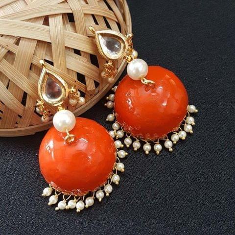 Kundan With Pearl Beading Orange Meenakari Jumki Earrings For Girls / Women