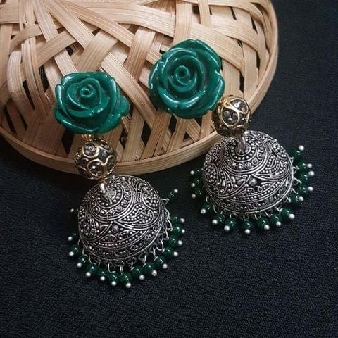 Green Floral With Antique Beads Jhumki Earrings For Girls / Women
