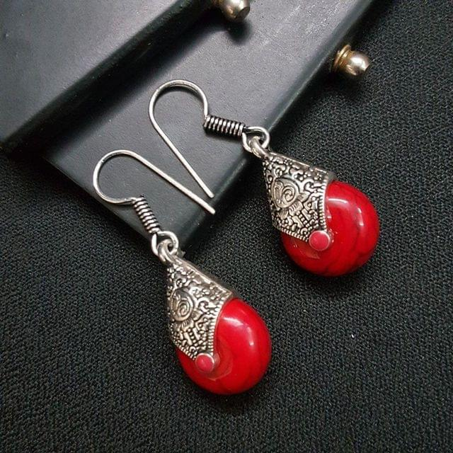 Designer Pink Stone Drop Earrings For Girls / Women
