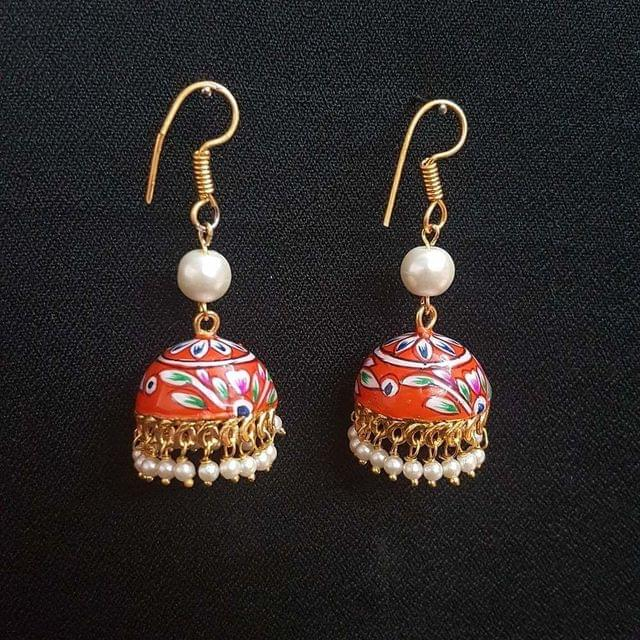 Orange Painting Jhumki Drop Earrings For Girls / Women