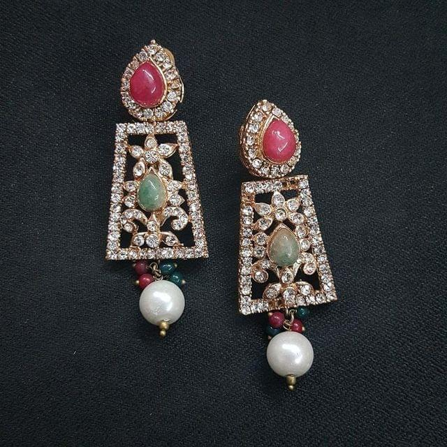 Designer Multi Stone Earrings For Girls / Women