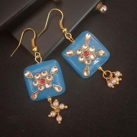 Sky Blue Square Shape Kundan Work Earrings For Girls / Women