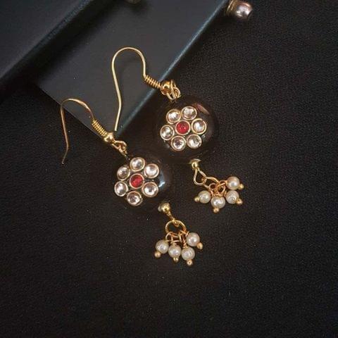 Black Round Small Kundan Work Earrings For Girls / Women