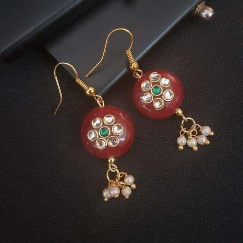 Maroon Round Small Kundan Work Earrings For Girls / Women