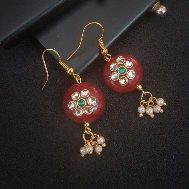 Maroon Round Small Kundan Work Earrings For Girls / Women