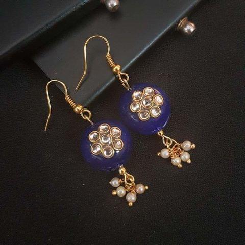 Blue Round Small Kundan Work Earrings For Girls / Women