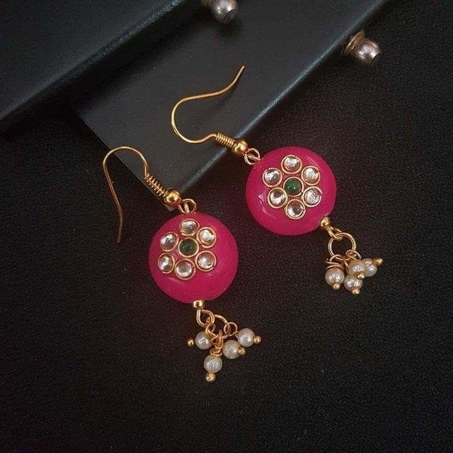 Pink Round Small Kundan Work Earrings For Girls / Women