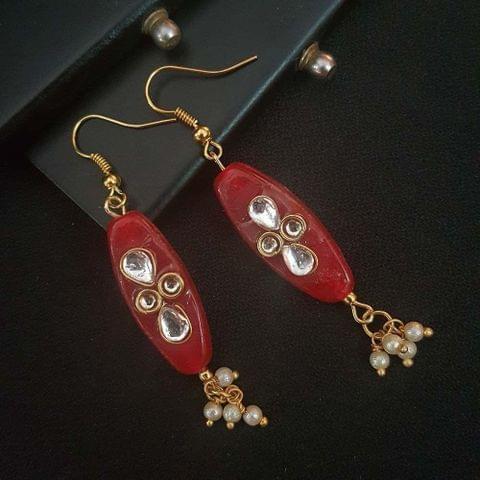 Red Oval Style Kundan Work Earrings For Girls / Women