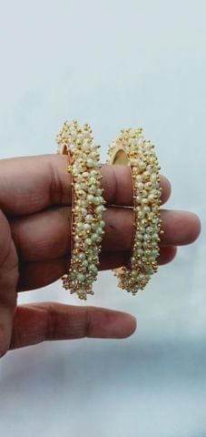 Bangle Gold Tone Pearl 2 Pcs Size 2-6 Ganesha Utsav