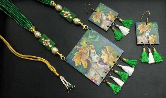 Desiger Navratri Radha Krishna Necklace Earrings Set Green For Girls and Women
