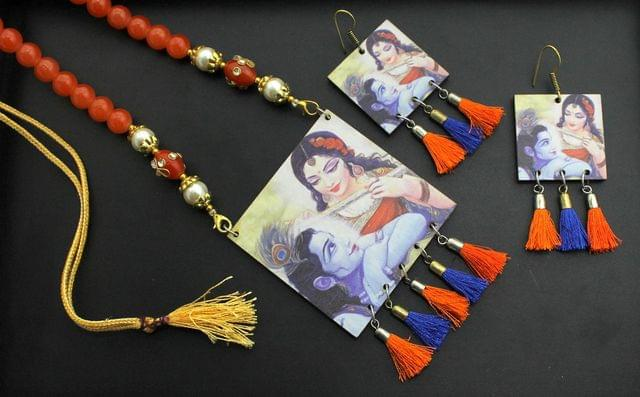 Desiger Navratri Radha Krishna Necklace Earrings Set Orange For Girls and Women