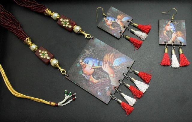 Desiger Navratri Radha Krishna Necklace Earrings Set Mahroon For Girls and Women
