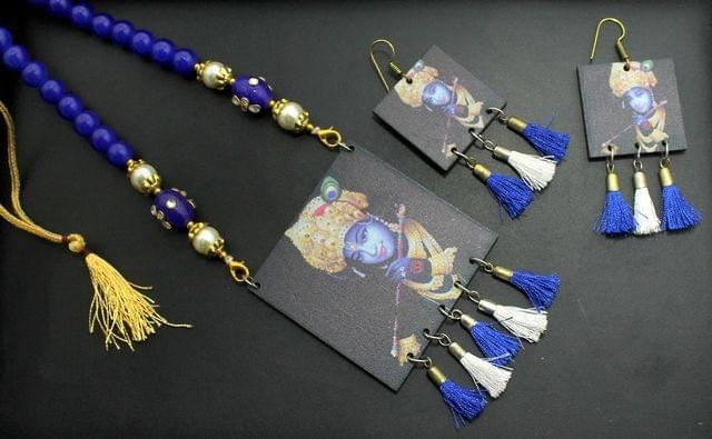 Radha Krishna Necklace Earrings Set