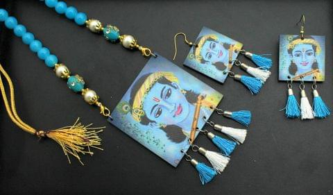 Desiger Navratri Radha Krishna Necklace Earrings Set Turquoise For Girls and Women