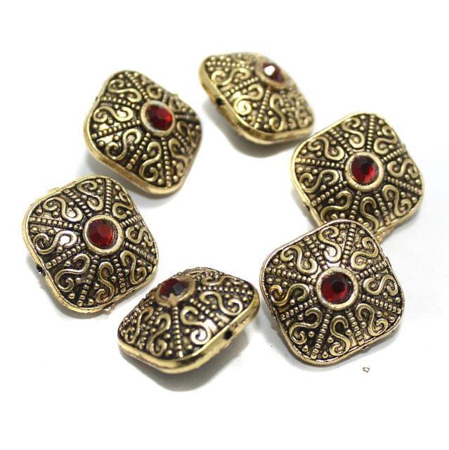 10 Pcs German Silver Gemstone Beads Golden 12x15mm