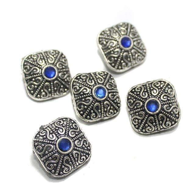 10 Pcs German Silver Gemstone Beads Silver 12x15mm
