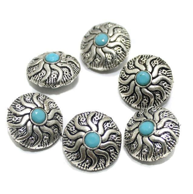 10 Pcs German Silver Gemstone Beads Silver 21x12mm