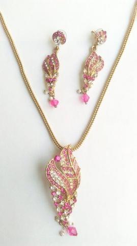 Pink Pendant set with Chain Ganesha Utsav  Stones Earrings.