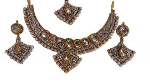 White Gold Tone Jewelry set Earrings  Mangtikka Kundan Wedding