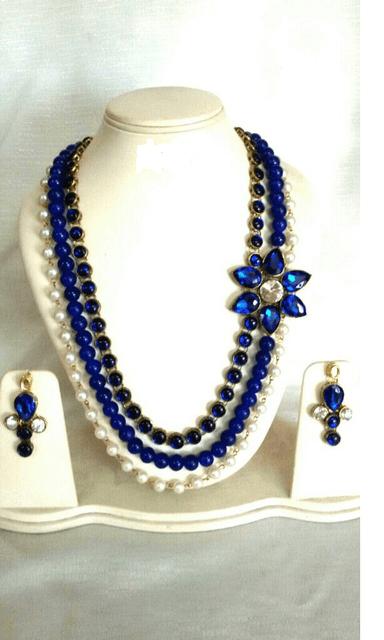 Beaded Blue Gold Tone Designer Earrings Navratri Special Jewelry Set