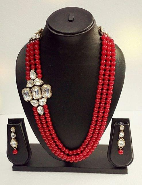Beaded Kundan Designer Red Pendant set earrings Bridal