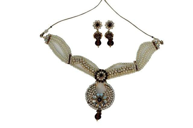 Purple Pearl Pendant Set Earrings Bridal Fashion Indian