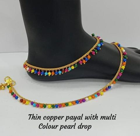 """Anklet Beaded Multi Colored Gold Tone Wedding Bridal Fashion 10-11"""""""
