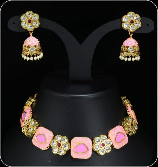 Pink Meena work Kundan Jewellery Set Earrings Navratri Sale