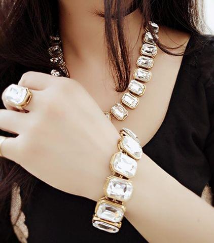 Kundan Necklace Earrings Bridal wedding Gold Tone