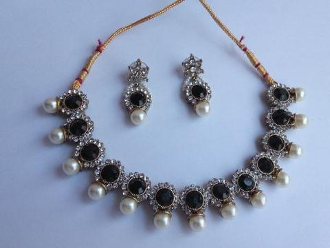 Black Stone Jewellery set Earrings Gold tone Bridal Indian