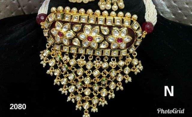 Maroon Kundan Chokkar Earrings Jewelry set Jhumki Meena Work Navratri Sale