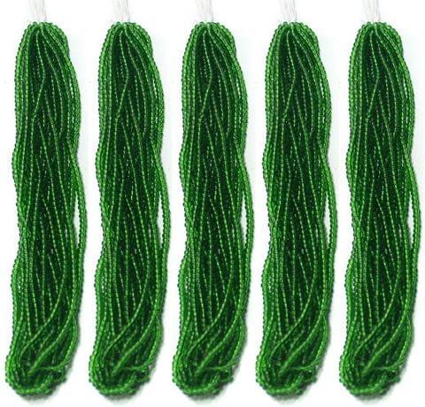5 Bunch of Preciosa Seed Bead Strings 11/0 Trans Green