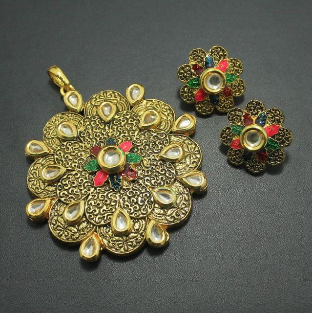 Kundan Meena Pendant and Earrings Set, Size-7x7cm
