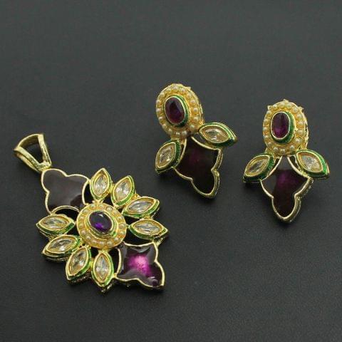 Purple Kundan Pendant and Earrings Set, Size-5x3cm