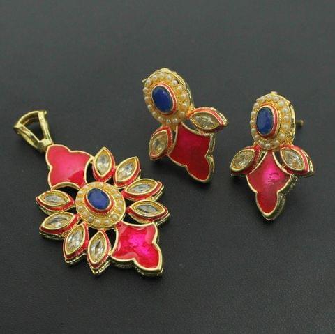 Pink Kundan Pendant and Earrings Set, Size-5x3cm